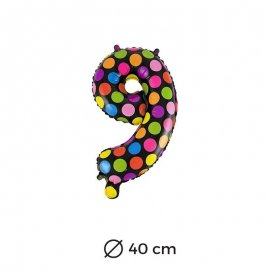 Ballon Numéro 9 à pois 40 cm